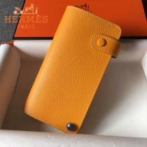 HERMES-00046-3 時尚新款橙色原版epsom牛皮搭扣多卡位卡包卡片夾