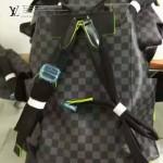 LV N41574 型男必備CHRISTOPHER黑色棋盤格配熒光綠邊雙肩包書包