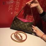LV M41638-7 時尚新款女士EVA老花配棗紅皮單肩斜挎包晚宴包手拿包