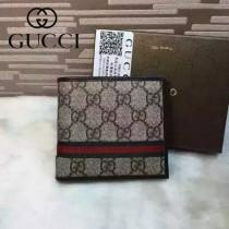 GUCCI 138042-2 時尚經典款咖啡色PVC配紅綠織帶短款兩折錢包