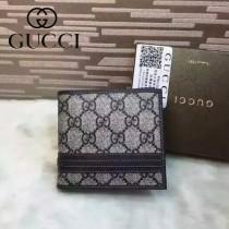 GUCCI 138042 時尚經典款藍色PVC配皮短款兩折錢包
