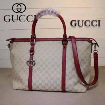 GUCCI 339550-2 早春新款女士棗紅色牛皮配帆布手提單肩包購物袋