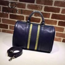 GUCCI 247205-08 潮流時尚經典全皮配織帶波士頓包枕頭包