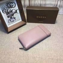 GUCCI 307993 歐美百搭新款粉色全皮配壓花皮長款拉鏈錢包