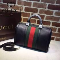 GUCCI 247205-06 潮流時尚經典全皮配織帶波士頓包枕頭包