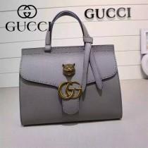 GUCCI 409155-7 OL白領必備時尚女士灰色全皮手提袋商務包