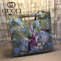 GUCCI 414476 高貴典雅女士鳳凰綠刺繡款PVC配牛皮手提單肩包購物袋