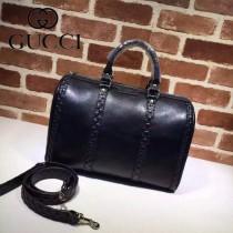 GUCCI 247205-05 經典時尚新款黑色全皮壓邊G花波士頓包枕頭包