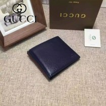 GUCCI 338086 潮流時尚新款藍色全皮短夾