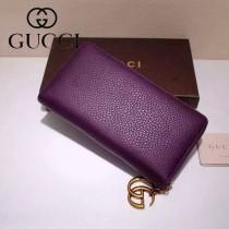 GUCCI 409392-2 甜美淑女風新款紫色全皮長款拉鏈錢包
