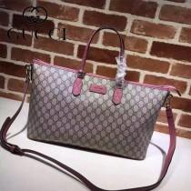 GUCCI 410748-3 時尚新款女士PVC配粉色皮大號單肩購物袋