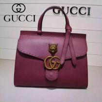 GUCCI 409155-5 OL白領必備時尚女士玫瑰紅全皮手提袋商務包