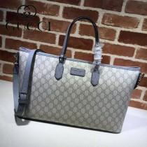 GUCCI 410748 時尚新款女士PVC配灰色皮大號單肩購物袋