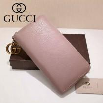GUCCI 409392 甜美淑女風新款粉色全皮長款拉鏈錢包