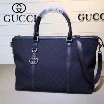 GUCCI 339550-4 早春新款女士黑色牛皮配帆布手提單肩包購物袋