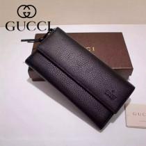 GUCCI 323396-01 古馳時尚經典新款黑色全皮長款錢包