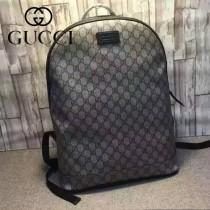 GUCCI 419584 時尚男女款休閒PVC配咖啡色牛皮雙肩包書包