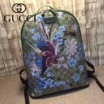 GUCCI 419584-2 時尚女士休閒鳳凰刺繡PVC配綠色牛皮雙肩包書包