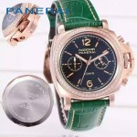PN1201-11 新款女士鑲鑽綠色配黑底316精鋼錶殼跑秒計時石英腕錶