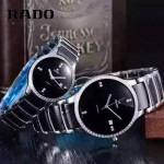 RADO-0119-15 時尚情侶款CENTRIX晶萃系列R30927722鑲鑽閃亮銀陶瓷石英腕錶