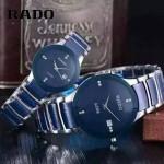 RADO-0119-5 時尚情侶款CENTRIX晶萃系列R30927722藍色閃亮銀陶瓷石英腕錶