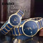 RADO-0119-11 時尚情侶款CENTRIX晶萃系列R30927722鑲鑽土豪金陶瓷石英腕錶