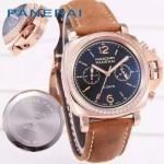 PN1201-16 新款女士鑲鑽磨砂牛皮配黑底316精鋼錶殼跑秒計時石英腕錶