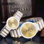 RADO-0119-8 時尚情侶款CENTRIX晶萃系列R30927722白色土豪金陶瓷石英腕錶