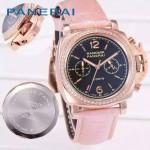 PN1201-12 新款女士鑲鑽粉色配黑底316精鋼錶殼跑秒計時石英腕錶