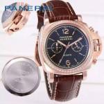 PN1201-17 新款女士鑲鑽褐色配黑底316精鋼錶殼跑秒計時石英腕錶
