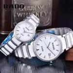 RADO-0119-9 時尚情侶款CENTRIX晶萃系列R30927722鑲鑽白色閃亮銀陶瓷石英腕錶