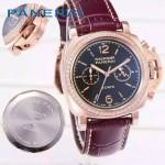 PN1201-9 新款女士鑲鑽紫色配黑底316精鋼錶殼跑秒計時石英腕錶