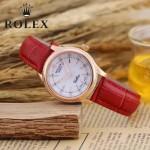 ROLEX-051-2 歐美女士紅色配土豪金礦物質強化玻璃進口石英腕錶