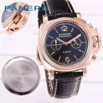 PN1201-13 新款女士鑲鑽黑色配黑底316精鋼錶殼跑秒計時石英腕錶