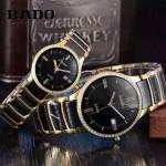 RADO-0119-10 時尚情侶款CENTRIX晶萃系列R30927722鑲鑽土豪金陶瓷石英腕錶