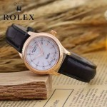 ROLEX-051 歐美女士黑色配土豪金礦物質強化玻璃進口石英腕錶
