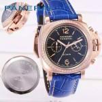 PN1201-15 新款女士鑲鑽藍色配黑底316精鋼錶殼跑秒計時石英腕錶