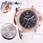 PN1201-14 新款女士鑲鑽白色配黑底316精鋼錶殼跑秒計時石英腕錶
