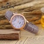 ROLEX-051-4 歐美女士灰紫色配土豪金礦物質強化玻璃進口石英腕錶