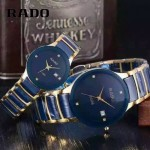 RADO-0119-3 時尚情侶款CENTRIX晶萃系列R30927722藍色土豪金陶瓷石英腕錶