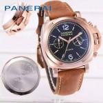 PN1201-7 新款女士磨砂牛皮配黑底316精鋼錶殼跑秒計時石英腕錶