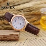ROLEX-051-3 歐美女士褐色配土豪金礦物質強化玻璃進口石英腕錶