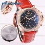 PN1201-10 新款女士鑲鑽紅色配黑底316精鋼錶殼跑秒計時石英腕錶