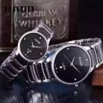 RADO-0119-14 時尚情侶款CENTRIX晶萃系列R30927722鑲鑽閃亮銀陶瓷石英腕錶