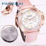 PN1201-2 新款女士粉色配白底316精鋼錶殼跑秒計時石英腕錶