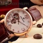 PATEK PHILIPPE-0142-8 潮流新款褐色配土豪金藍寶石鏡面全自動機械腕錶