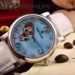 PATEK PHILIPPE-0142-13 潮流新款白色配閃亮銀藍寶石鏡面全自動機械腕錶