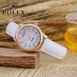 ROLEX-051-6 歐美女士白色配土豪金礦物質強化玻璃進口石英腕錶