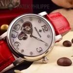 PATEK PHILIPPE-0142-11 潮流新款紅色配閃亮銀藍寶石鏡面全自動機械腕錶