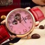 PATEK PHILIPPE-0142-2 潮流新款紅色配土豪金藍寶石鏡面全自動機械腕錶